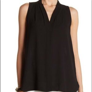 Vince Camuto NWT Rich Black Pleated VNeck Tank Top